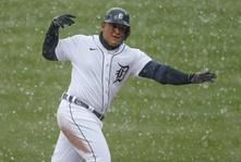 Miguel Cabrera hits first home-run of MLB season; slides into second base