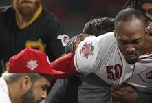 Reds And Pirates Get Into An Old Fashion Bench Clearing Brawl.