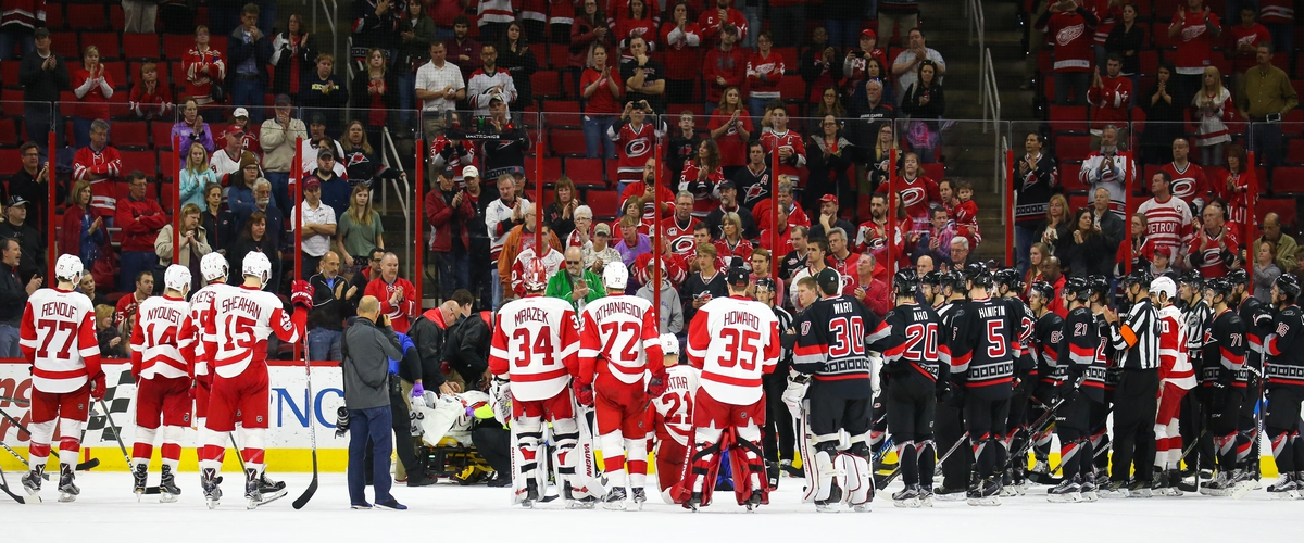 Hurricanes Goalie Stretchered off ice after giving up OT Goal