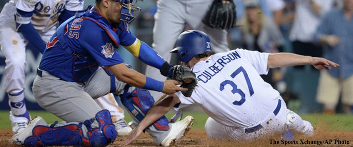 "NLCS Cubs Maddon tossed. Dodgers Puig showboating, Dodgers 5-2 win. Kershaw's ""Matt Adams Curse""."