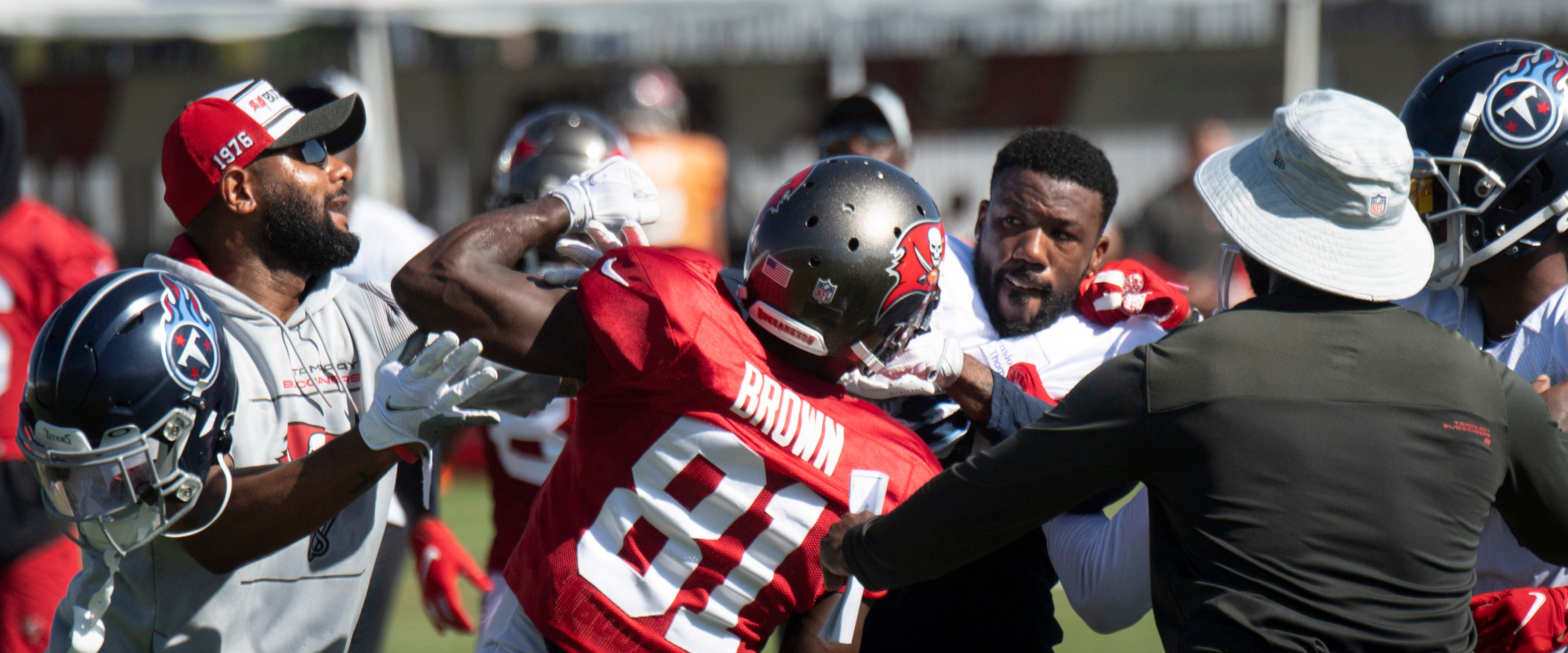 Titans: Tempers flare at joint practice as Antonio Brown throws punches