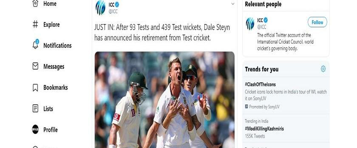 Cricket Fraternity Pays Tribute as Dale Steyn Announces His Retirement