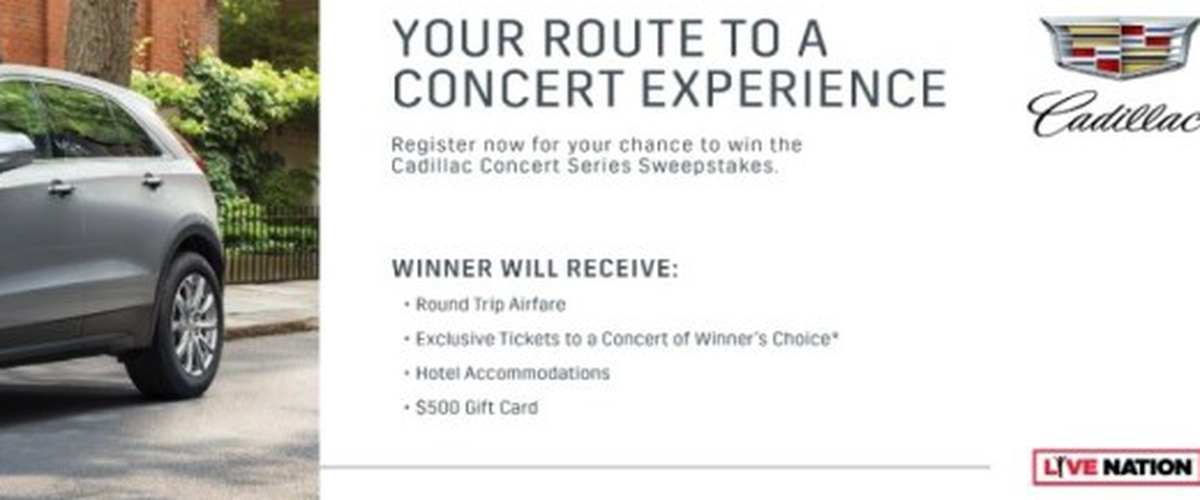 Cadillac Concert Series Sweepstakes - Chance To Win A Prize Package