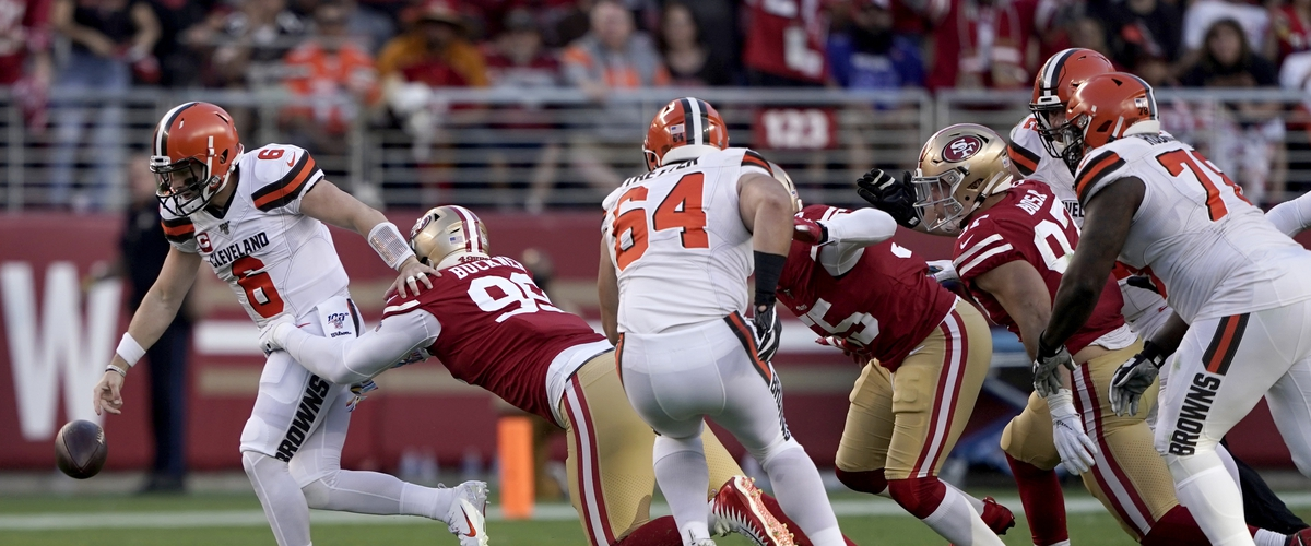 Nick Bosa Knocks Baker Mayfield Flat.